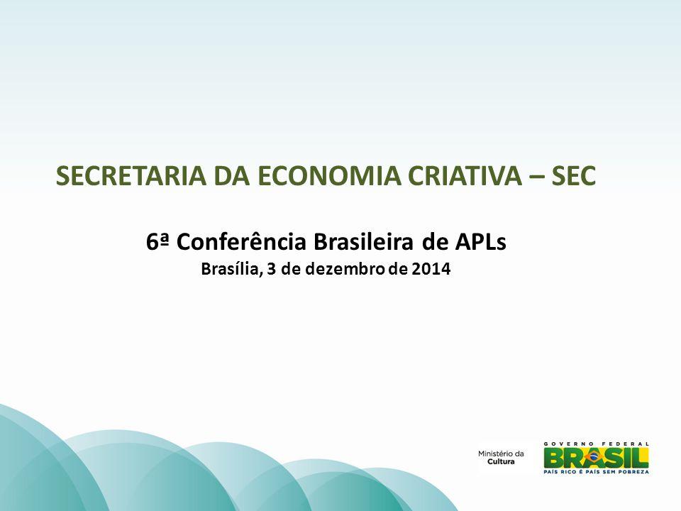 SECRETARIA DA ECONOMIA CRIATIVA – SEC 6ª Conferência Brasileira de APLs Brasília, 3 de dezembro de 2014