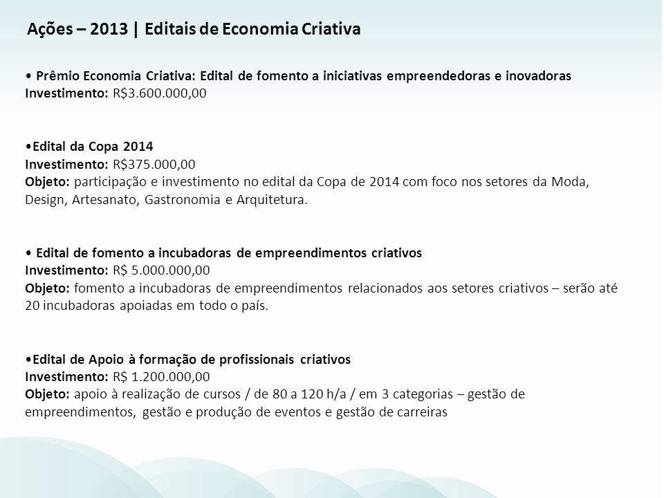 Convênios Incubadoras Brasil Criativo Investimento: R$ 5.000.000,00 (2012 - RJ) / R$12.000.000,00 (até julho/2013) Status: Recursos repassados: AC, PA, CE, RN, BA, GO, DF, MT, RJ, PR e RS.