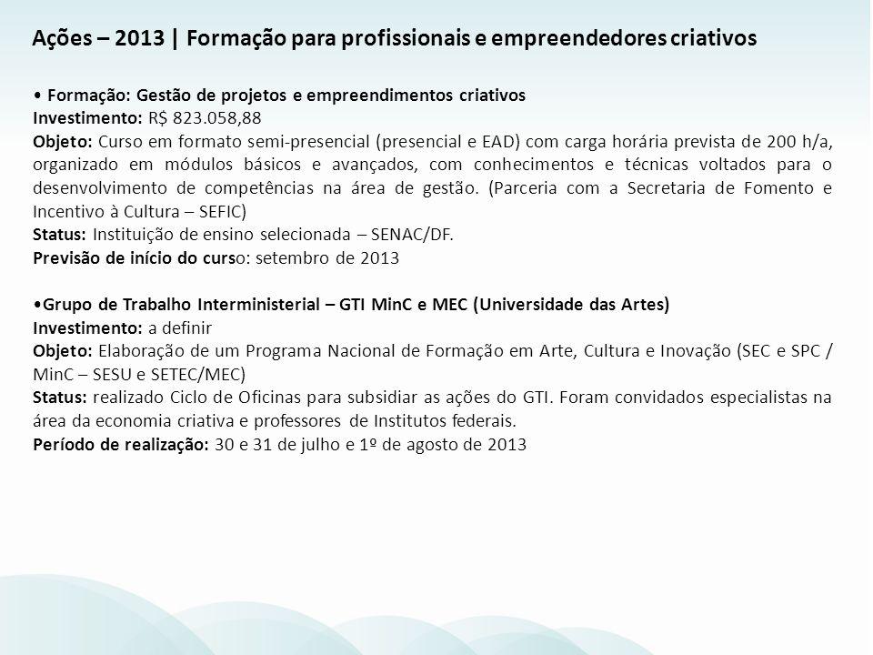 Formação: Gestão de projetos e empreendimentos criativos Investimento: R$ 823.058,88 Objeto: Curso em formato semi-presencial (presencial e EAD) com c