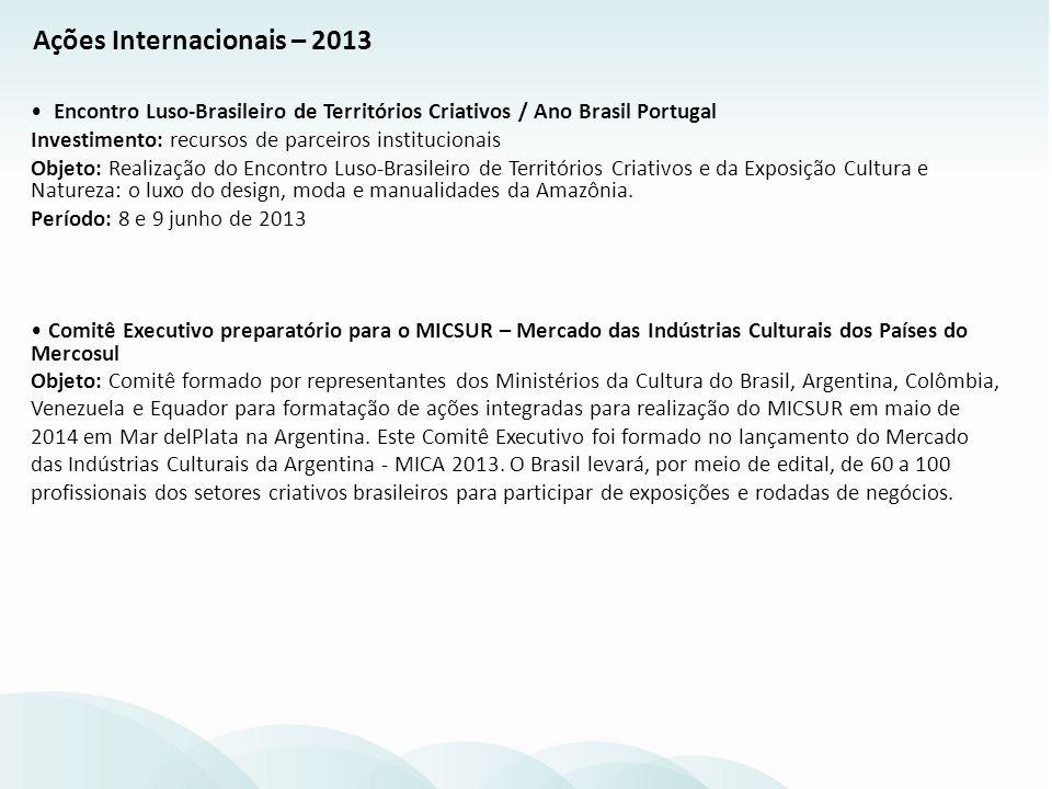 Encontro Luso-Brasileiro de Territórios Criativos / Ano Brasil Portugal Investimento: recursos de parceiros institucionais Objeto: Realização do Encon