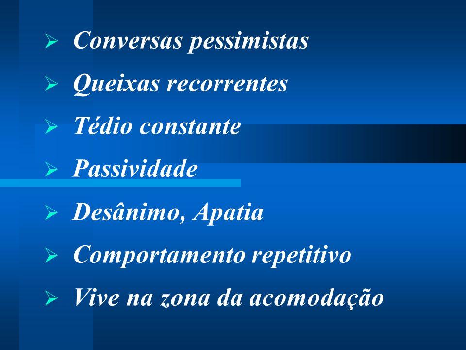  Conversas pessimistas  Queixas recorrentes  Tédio constante  Passividade  Desânimo, Apatia  Comportamento repetitivo  Vive na zona da acomodaç