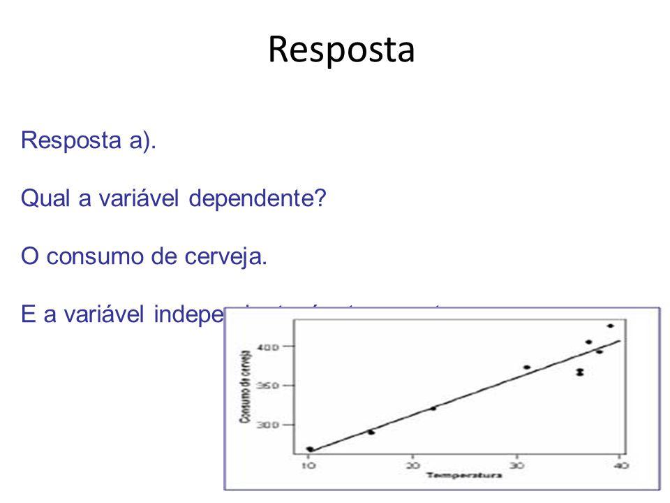 Resposta Resposta a).Qual a variável dependente. O consumo de cerveja.