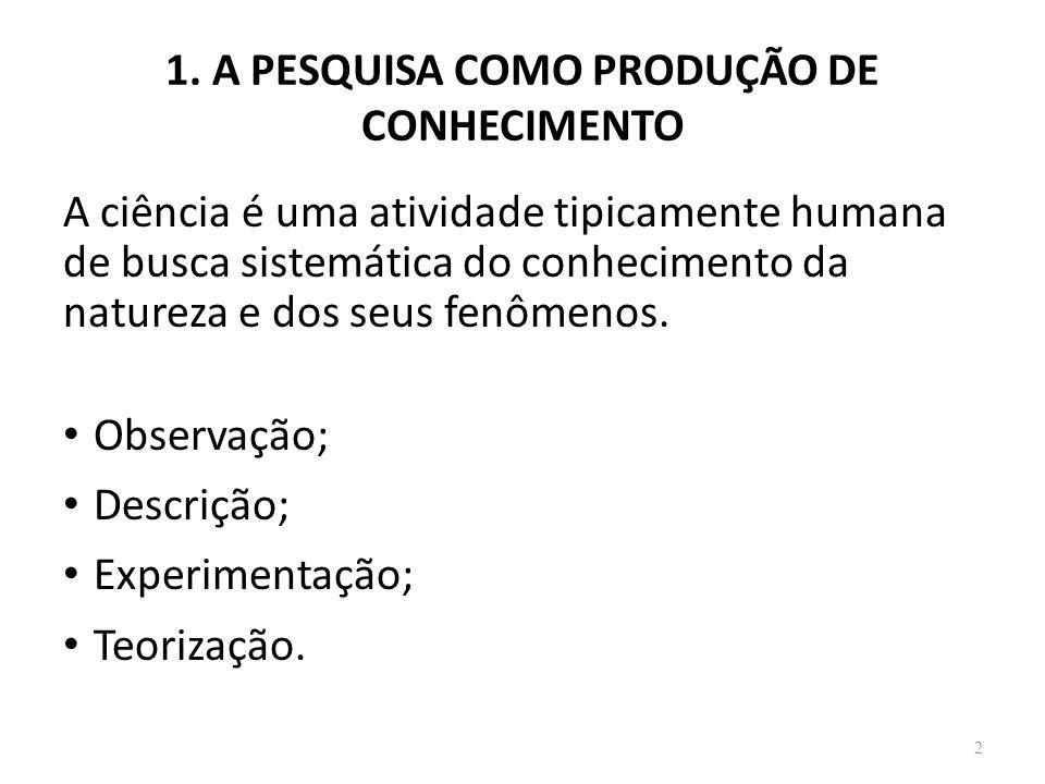 1. A PESQUISA COMO PRODUÇÃO DE CONHECIMENTO 2 A ciência é uma atividade tipicamente humana de busca sistemática do conhecimento da natureza e dos seus
