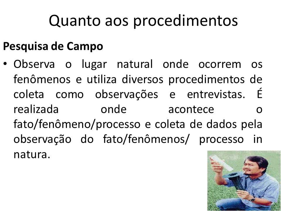 Pesquisa de Campo Observa o lugar natural onde ocorrem os fenômenos e utiliza diversos procedimentos de coleta como observações e entrevistas.