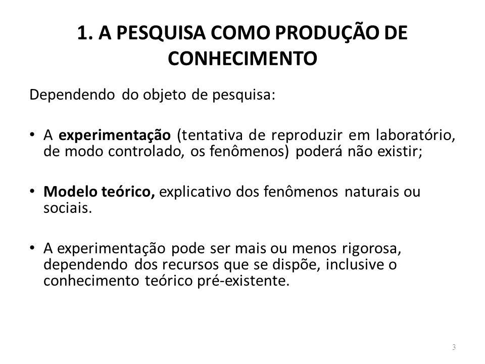 1. A PESQUISA COMO PRODUÇÃO DE CONHECIMENTO 3 Dependendo do objeto de pesquisa: A experimentação (tentativa de reproduzir em laboratório, de modo cont