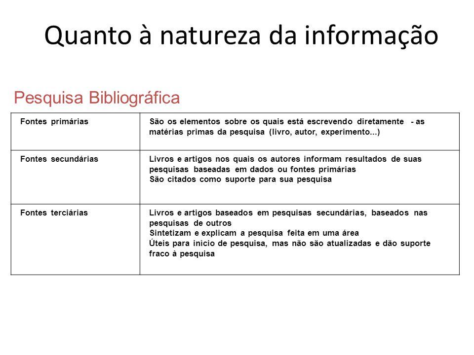 Pesquisa Bibliográfica Fontes primáriasSão os elementos sobre os quais está escrevendo diretamente - as matérias primas da pesquisa (livro, autor, exp