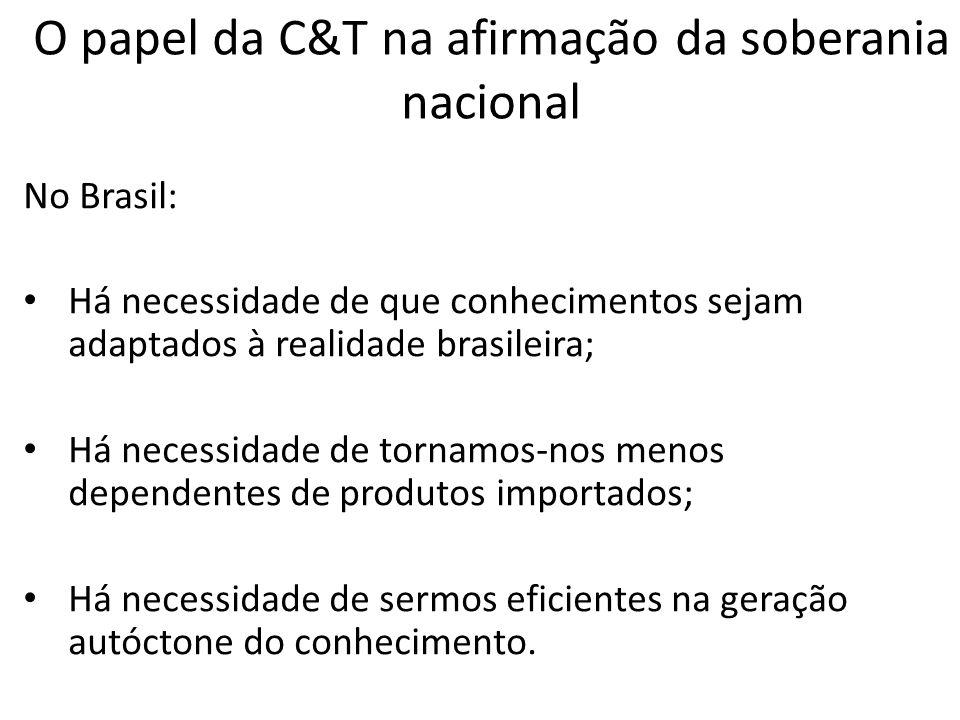 No Brasil: Há necessidade de que conhecimentos sejam adaptados à realidade brasileira; Há necessidade de tornamos-nos menos dependentes de produtos im