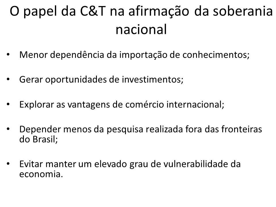 Menor dependência da importação de conhecimentos; Gerar oportunidades de investimentos; Explorar as vantagens de comércio internacional; Depender meno