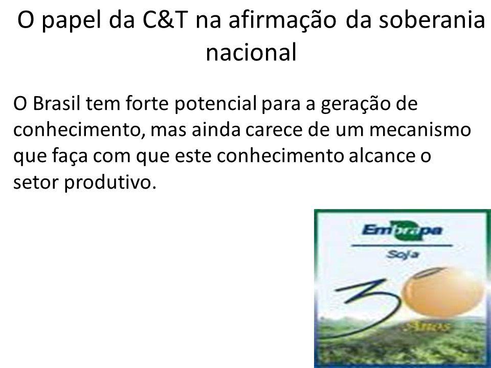 O Brasil tem forte potencial para a geração de conhecimento, mas ainda carece de um mecanismo que faça com que este conhecimento alcance o setor produ