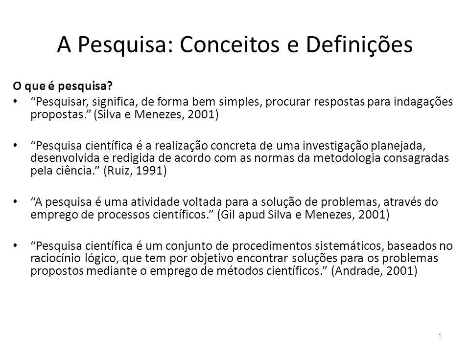 A Pesquisa: Conceitos e Definições O que é pesquisa.
