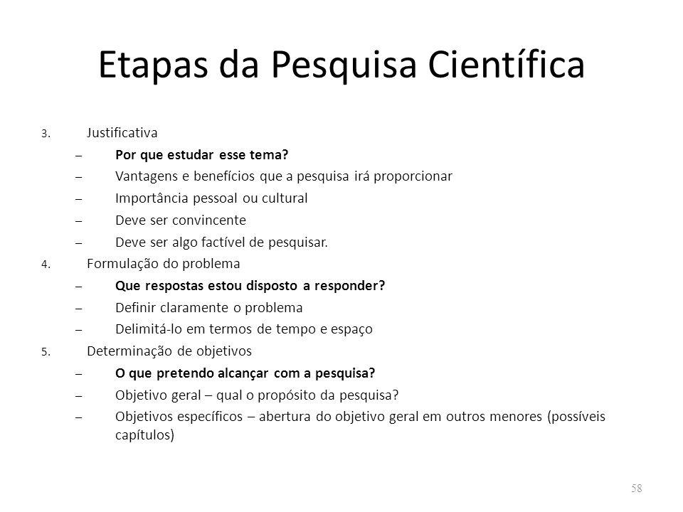 Etapas da Pesquisa Científica 3. Justificativa – Por que estudar esse tema? – Vantagens e benefícios que a pesquisa irá proporcionar – Importância pes