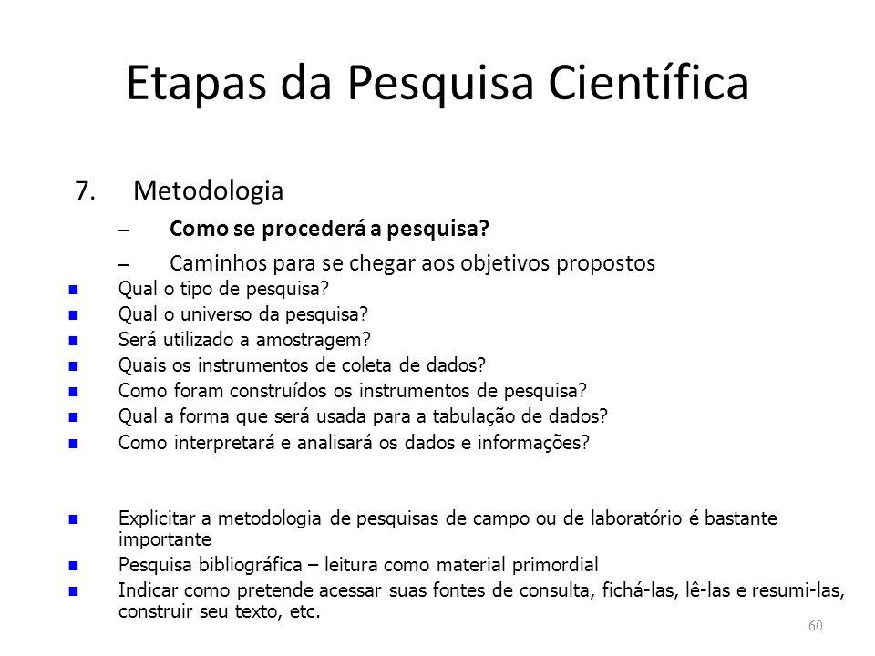 Etapas da Pesquisa Científica 7.Metodologia – Como se procederá a pesquisa.