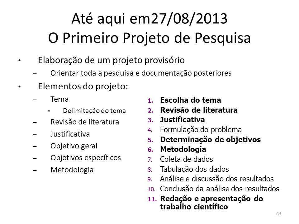Até aqui em27/08/2013 O Primeiro Projeto de Pesquisa Elaboração de um projeto provisório – Orientar toda a pesquisa e documentação posteriores Element