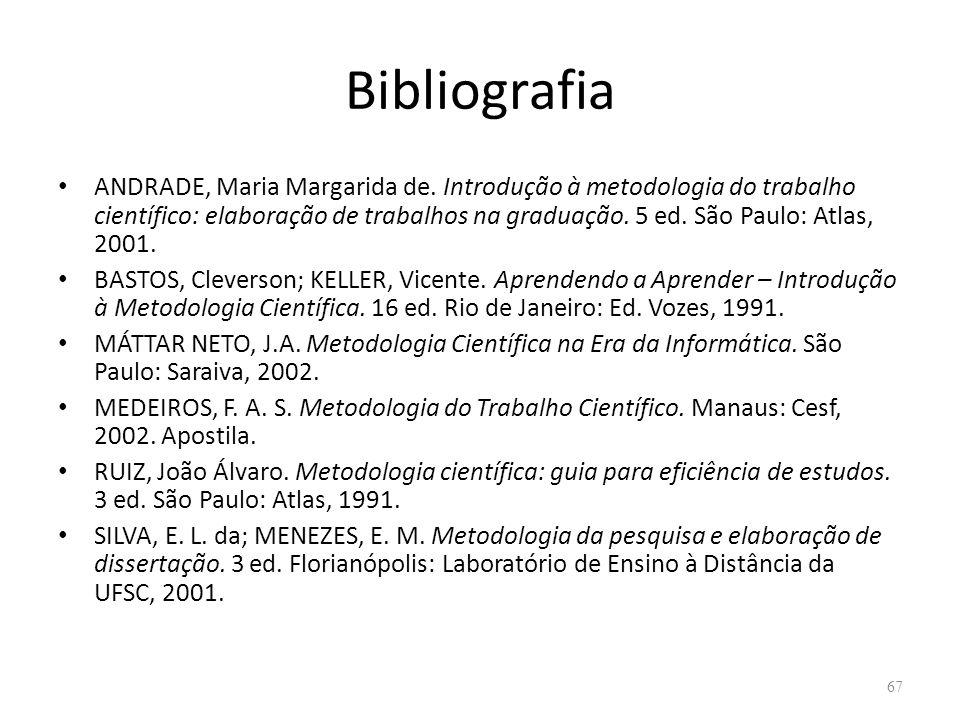 Bibliografia ANDRADE, Maria Margarida de. Introdução à metodologia do trabalho científico: elaboração de trabalhos na graduação. 5 ed. São Paulo: Atla