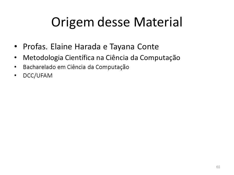 Origem desse Material Profas. Elaine Harada e Tayana Conte Metodologia Científica na Ciência da Computação Bacharelado em Ciência da Computação DCC/UF