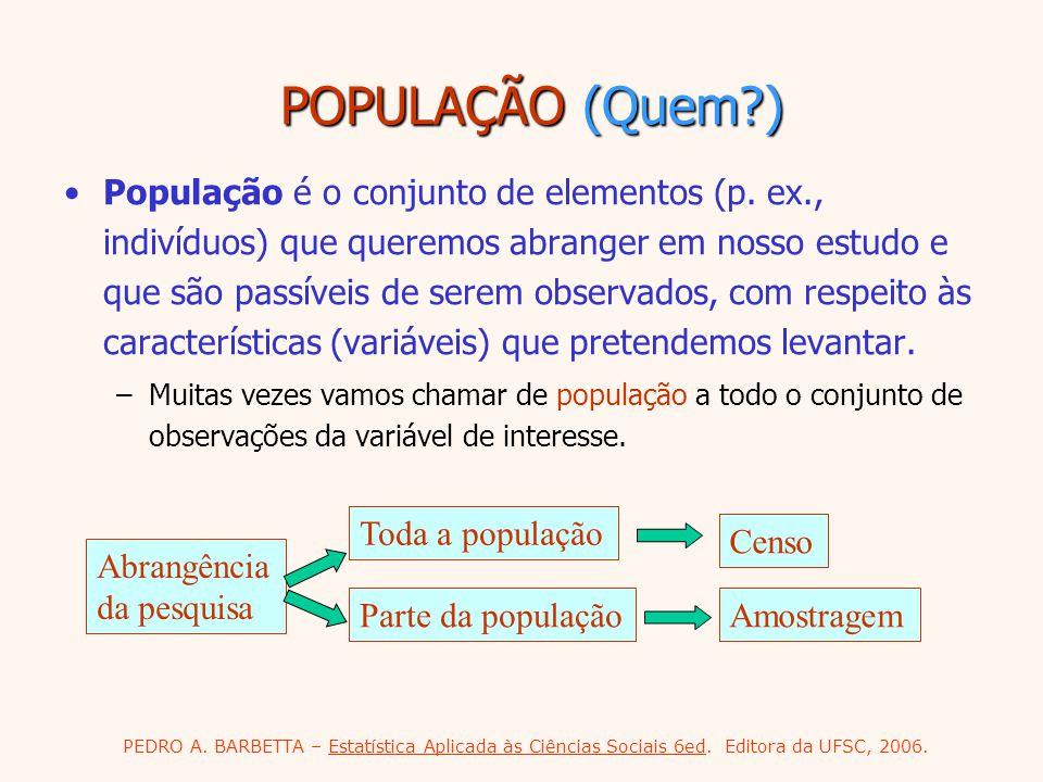 PEDRO A. BARBETTA – Estatística Aplicada às Ciências Sociais 6ed. Editora da UFSC, 2006. POPULAÇÃO (Quem?) População é o conjunto de elementos (p. ex.