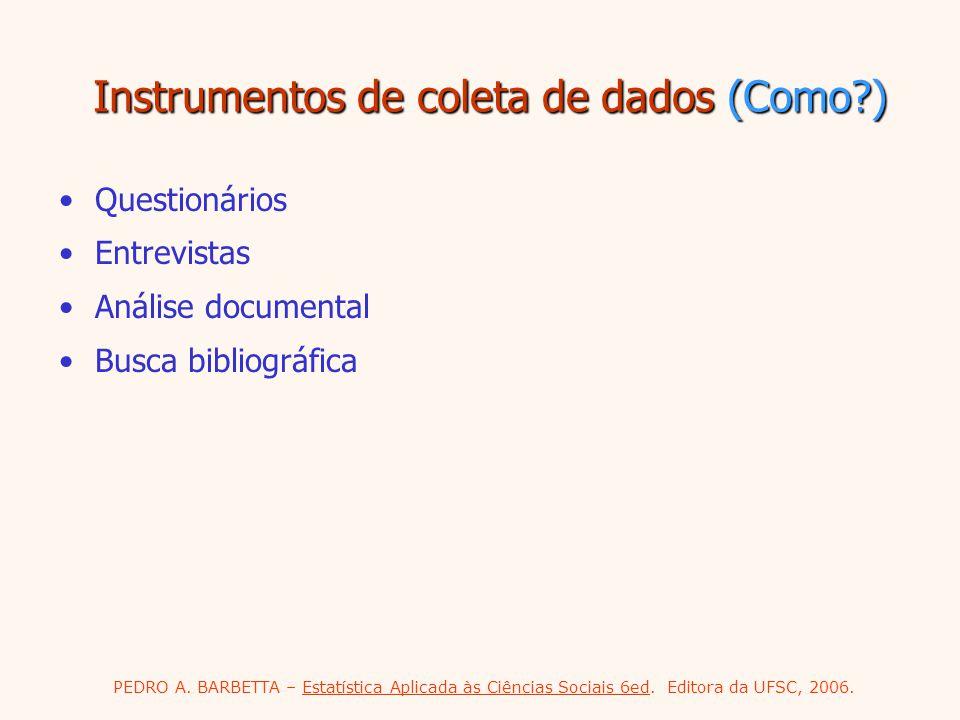 PEDRO A. BARBETTA – Estatística Aplicada às Ciências Sociais 6ed. Editora da UFSC, 2006. Instrumentos de coleta de dados (Como?) Questionários Entrevi