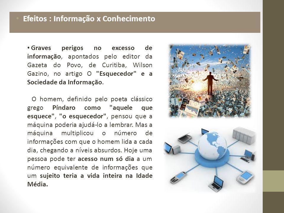 Graves perigos no excesso de informação, apontados pelo editor da Gazeta do Povo, de Curitiba, Wilson Gazino, no artigo O Esquecedor e a Sociedade da Informação.