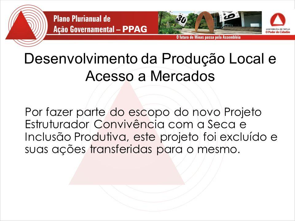 Desenvolvimento da Produção Local e Acesso a Mercados Por fazer parte do escopo do novo Projeto Estruturador Convivência com a Seca e Inclusão Produtiva, este projeto foi excluído e suas ações transferidas para o mesmo.
