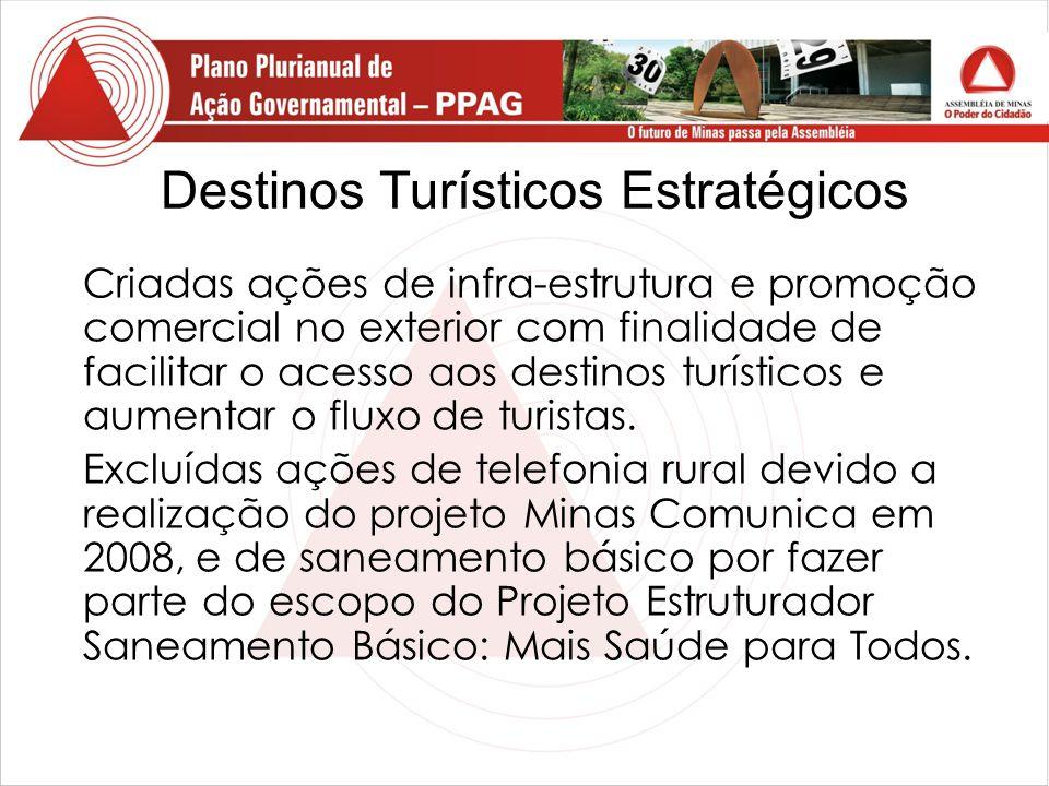 Destinos Turísticos Estratégicos Criadas ações de infra-estrutura e promoção comercial no exterior com finalidade de facilitar o acesso aos destinos turísticos e aumentar o fluxo de turistas.