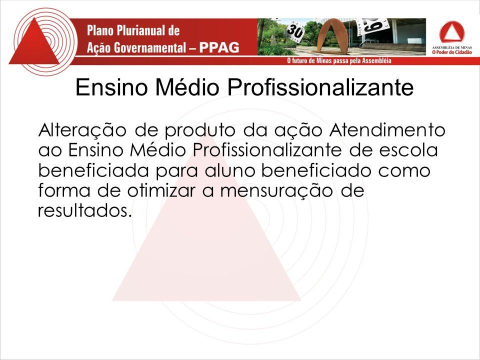 Ensino Médio Profissionalizante Alteração de produto da ação Atendimento ao Ensino Médio Profissionalizante de escola beneficiada para aluno beneficiado como forma de otimizar a mensuração de resultados.