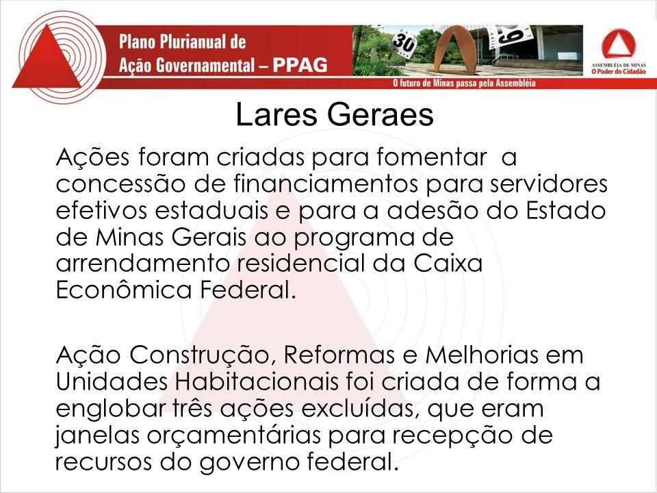 Lares Geraes Ações foram criadas para fomentar a concessão de financiamentos para servidores efetivos estaduais e para a adesão do Estado de Minas Gerais ao programa de arrendamento residencial da Caixa Econômica Federal.