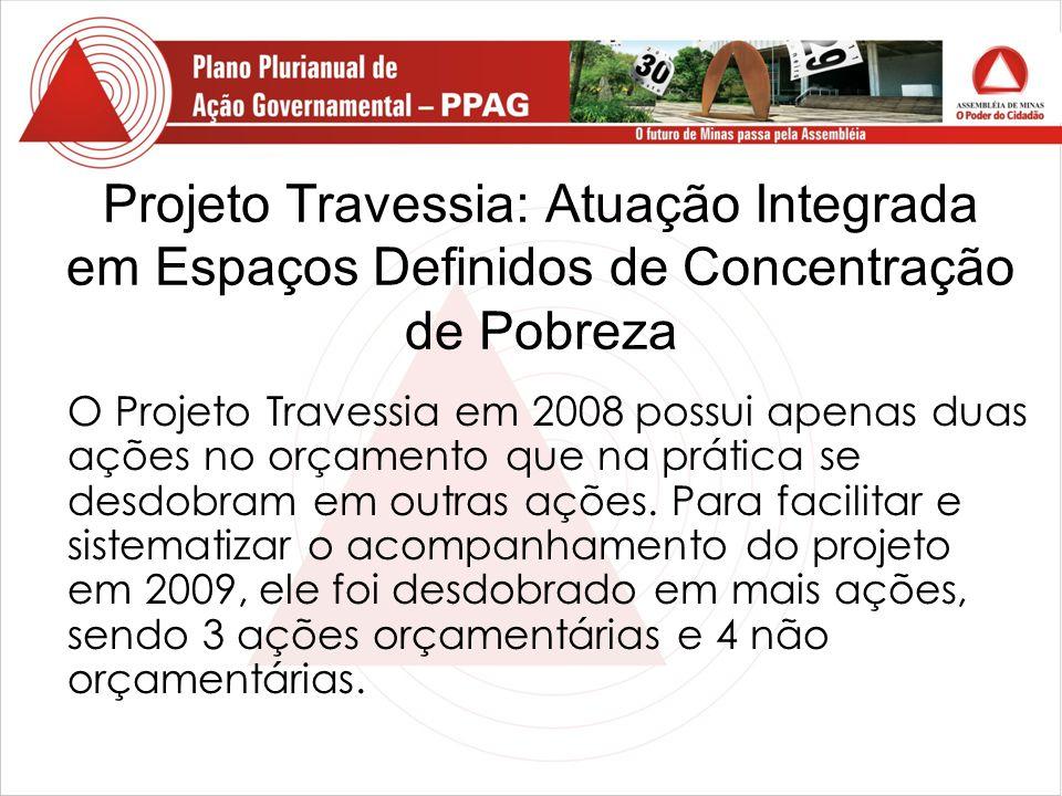 Projeto Travessia: Atuação Integrada em Espaços Definidos de Concentração de Pobreza O Projeto Travessia em 2008 possui apenas duas ações no orçamento que na prática se desdobram em outras ações.