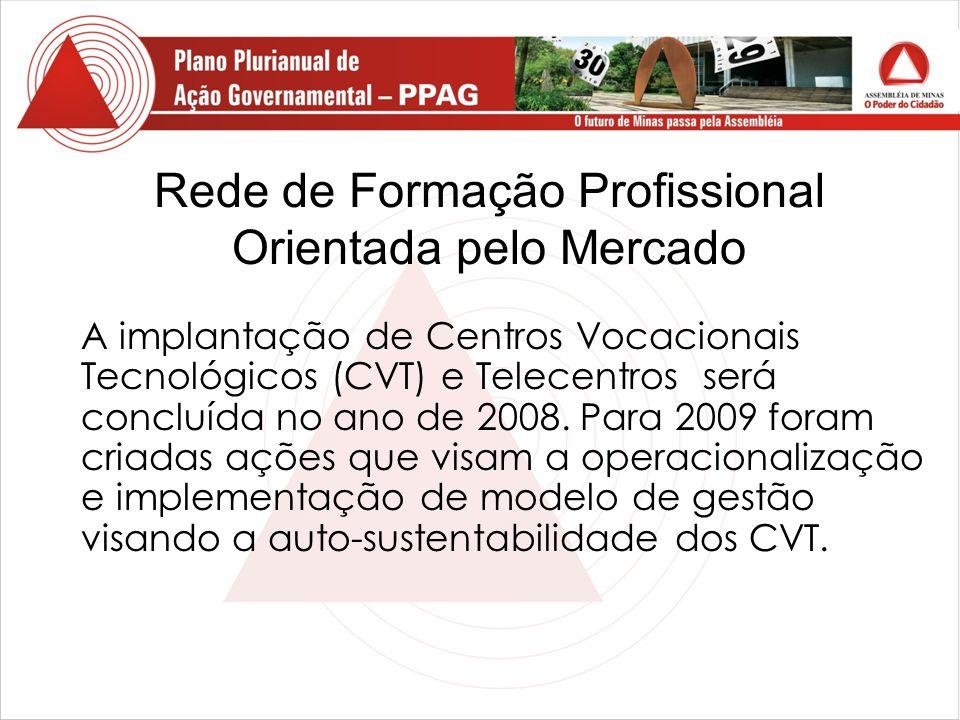 Rede de Formação Profissional Orientada pelo Mercado A implantação de Centros Vocacionais Tecnológicos (CVT) e Telecentros será concluída no ano de 2008.