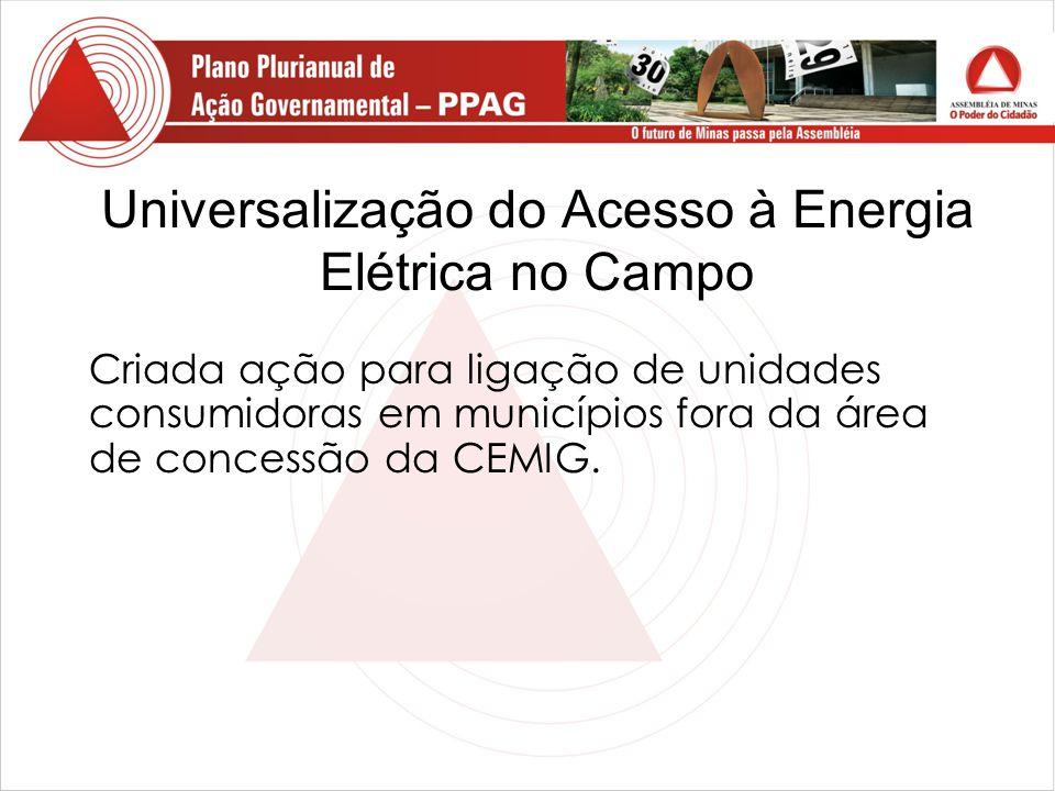 Universalização do Acesso à Energia Elétrica no Campo Criada ação para ligação de unidades consumidoras em municípios fora da área de concessão da CEMIG.