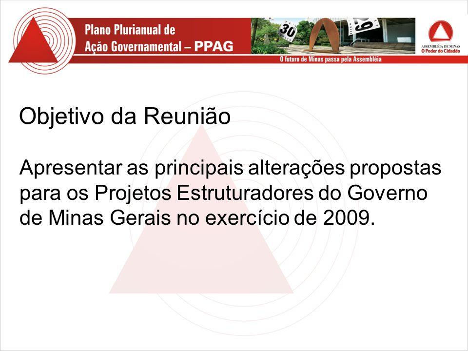 Objetivo da Reunião Apresentar as principais alterações propostas para os Projetos Estruturadores do Governo de Minas Gerais no exercício de 2009.