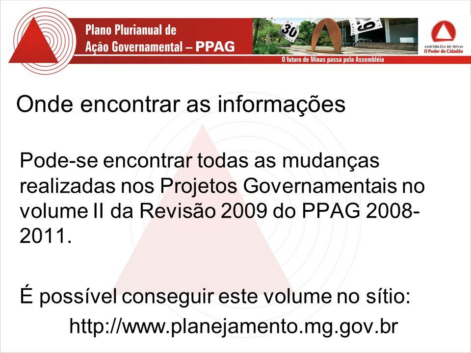 Onde encontrar as informações Pode-se encontrar todas as mudanças realizadas nos Projetos Governamentais no volume II da Revisão 2009 do PPAG 2008- 2011.