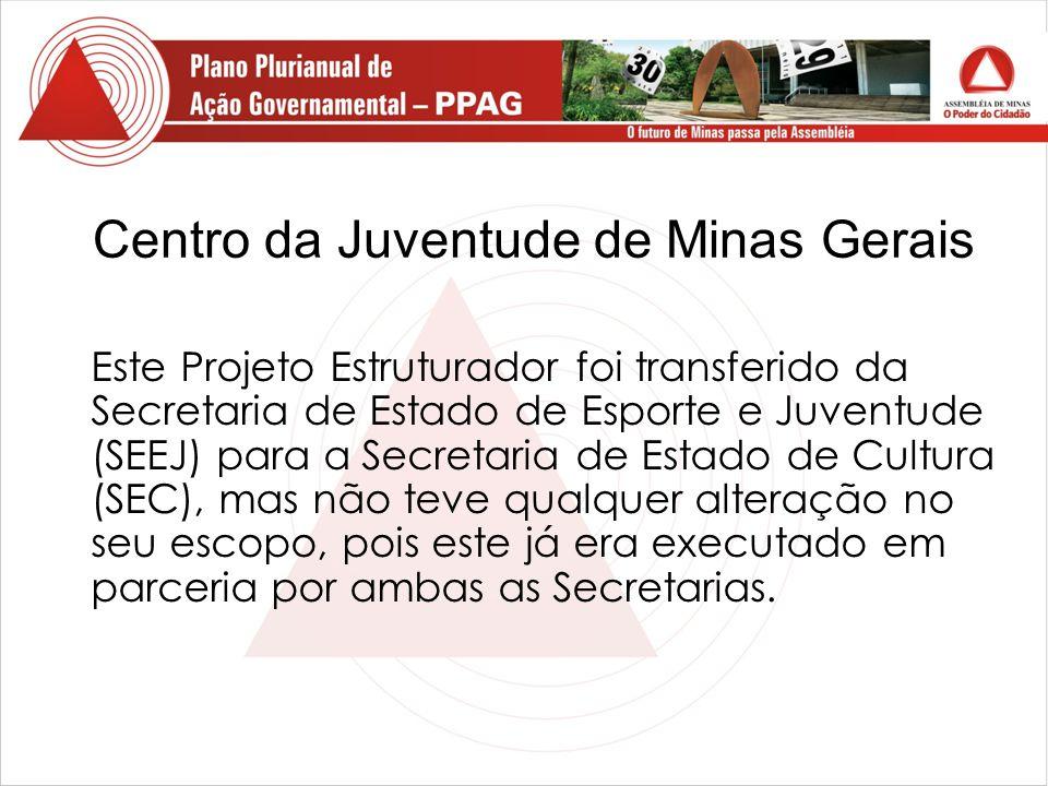 Centro da Juventude de Minas Gerais Este Projeto Estruturador foi transferido da Secretaria de Estado de Esporte e Juventude (SEEJ) para a Secretaria de Estado de Cultura (SEC), mas não teve qualquer alteração no seu escopo, pois este já era executado em parceria por ambas as Secretarias.
