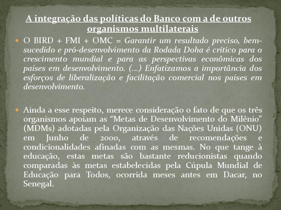 A integração das políticas do Banco com a de outros organismos multilaterais O BIRD + FMI + OMC = Garantir um resultado preciso, bem- sucedido e pró-d
