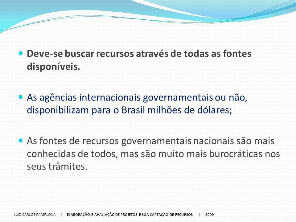 Deve-se buscar recursos através de todas as fontes disponíveis. As agências internacionais governamentais ou não, disponibilizam para o Brasil milhões