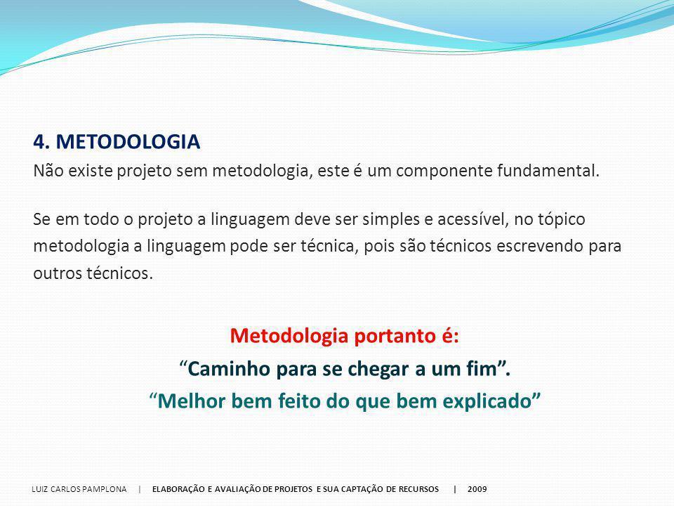 4. METODOLOGIA Não existe projeto sem metodologia, este é um componente fundamental. Se em todo o projeto a linguagem deve ser simples e acessível, no