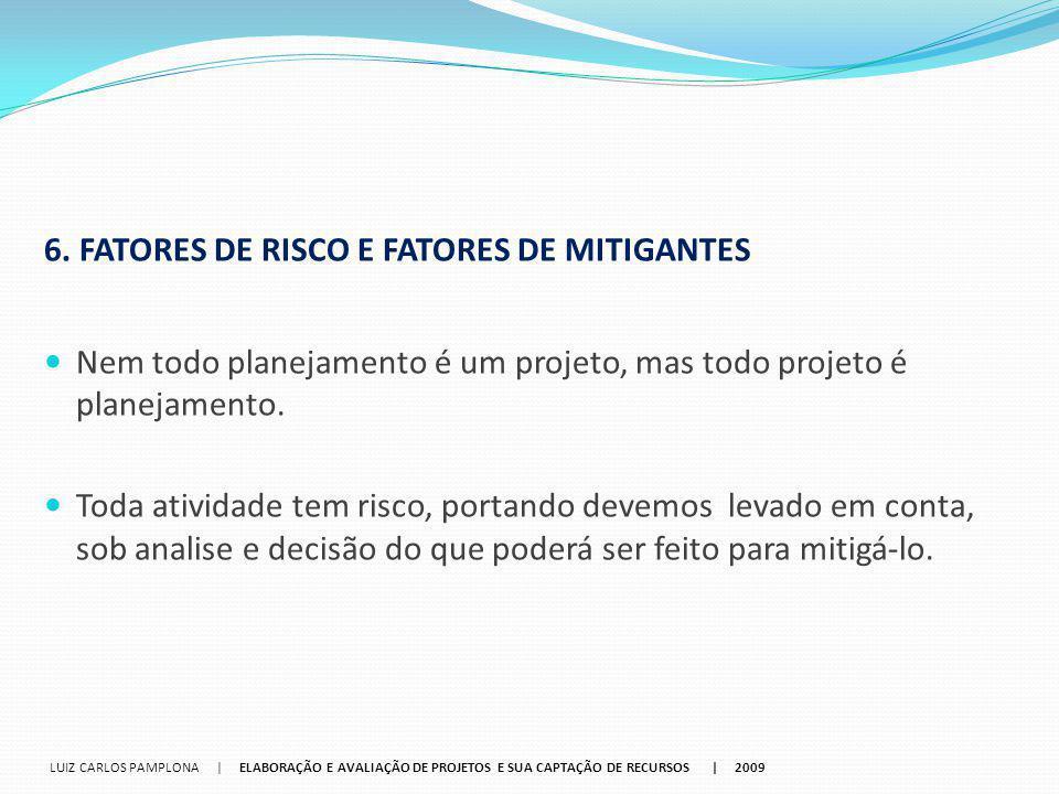 6. FATORES DE RISCO E FATORES DE MITIGANTES Nem todo planejamento é um projeto, mas todo projeto é planejamento. Toda atividade tem risco, portando de