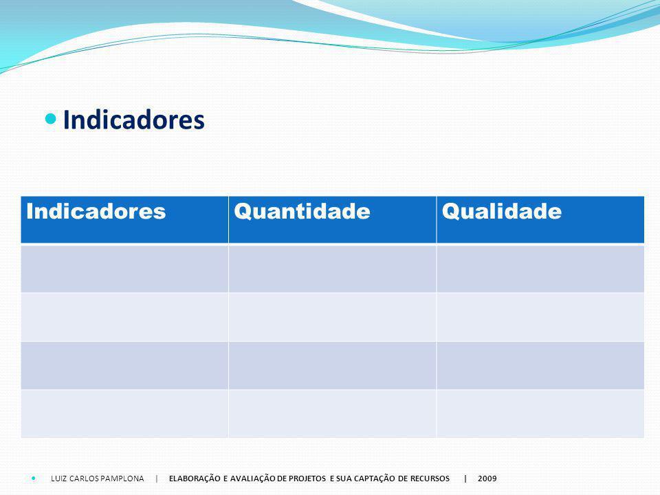 Indicadores QuantidadeQualidade LUIZ CARLOS PAMPLONA | ELABORAÇÃO E AVALIAÇÃO DE PROJETOS E SUA CAPTAÇÃO DE RECURSOS | 2009