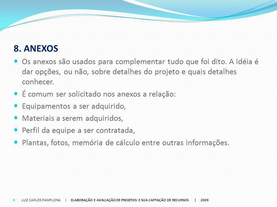 8. ANEXOS Os anexos são usados para complementar tudo que foi dito. A idéia é dar opções, ou não, sobre detalhes do projeto e quais detalhes conhecer.