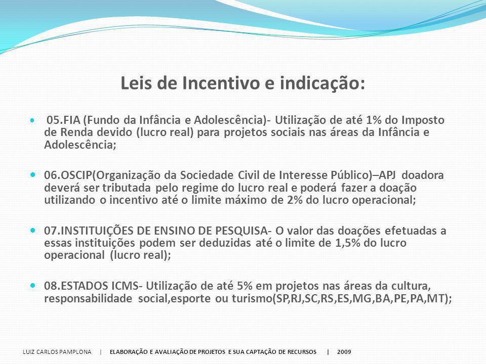 Leis de Incentivo e indicação: 05.FIA (Fundo da Infância e Adolescência)‐ Utilização de até 1% do Imposto de Renda devido (lucro real) para projetos s