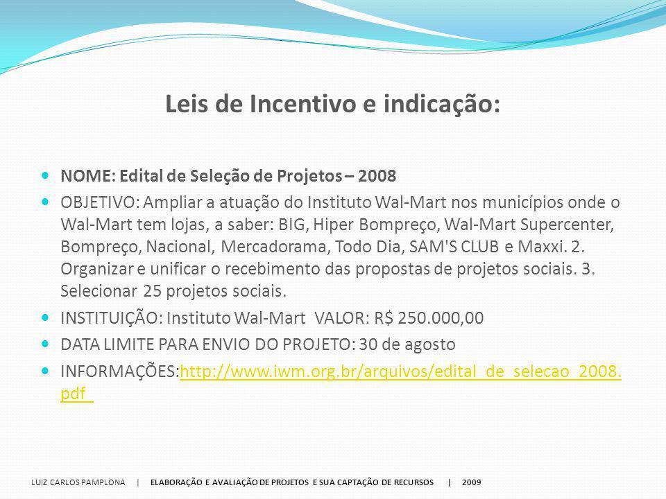Leis de Incentivo e indicação: NOME: Edital de Seleção de Projetos – 2008 OBJETIVO: Ampliar a atuação do Instituto Wal-Mart nos municípios onde o Wal-