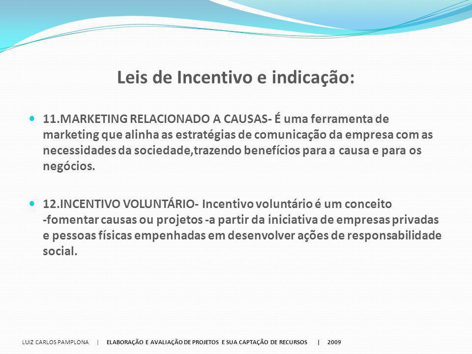 Leis de Incentivo e indicação: 11.MARKETING RELACIONADO A CAUSAS‐ É uma ferramenta de marketing que alinha as estratégias de comunicação da empresa co