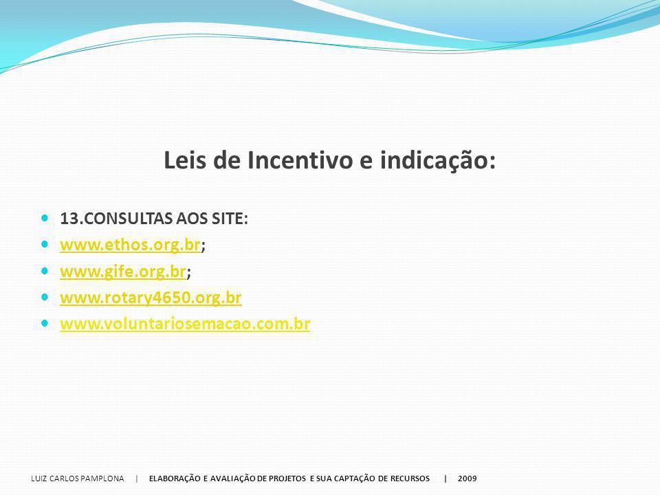 Leis de Incentivo e indicação: 13.CONSULTAS AOS SITE: www.ethos.org.br; www.ethos.org.br www.gife.org.br; www.gife.org.br www.rotary4650.org.br www.vo