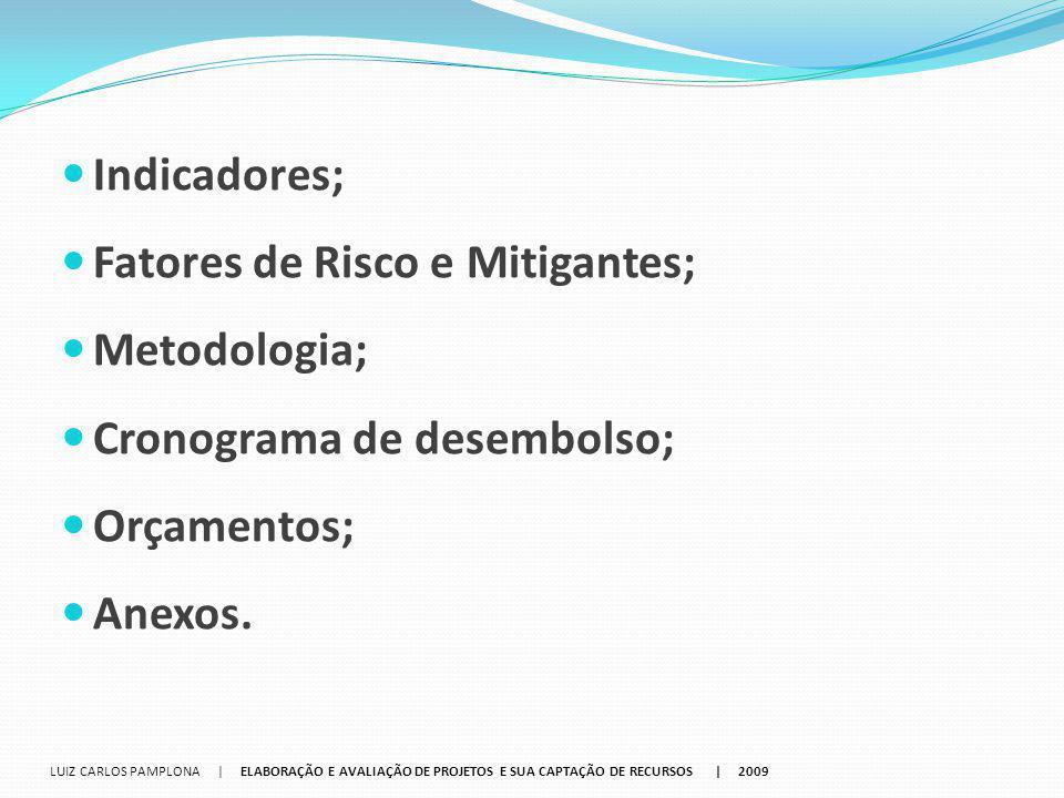 Indicadores; Fatores de Risco e Mitigantes; Metodologia; Cronograma de desembolso; Orçamentos; Anexos. LUIZ CARLOS PAMPLONA | ELABORAÇÃO E AVALIAÇÃO D
