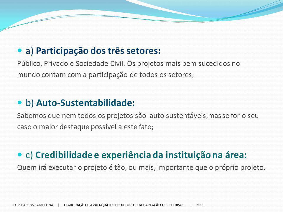 a) Participação dos três setores: Público, Privado e Sociedade Civil. Os projetos mais bem sucedidos no mundo contam com a participação de todos os se