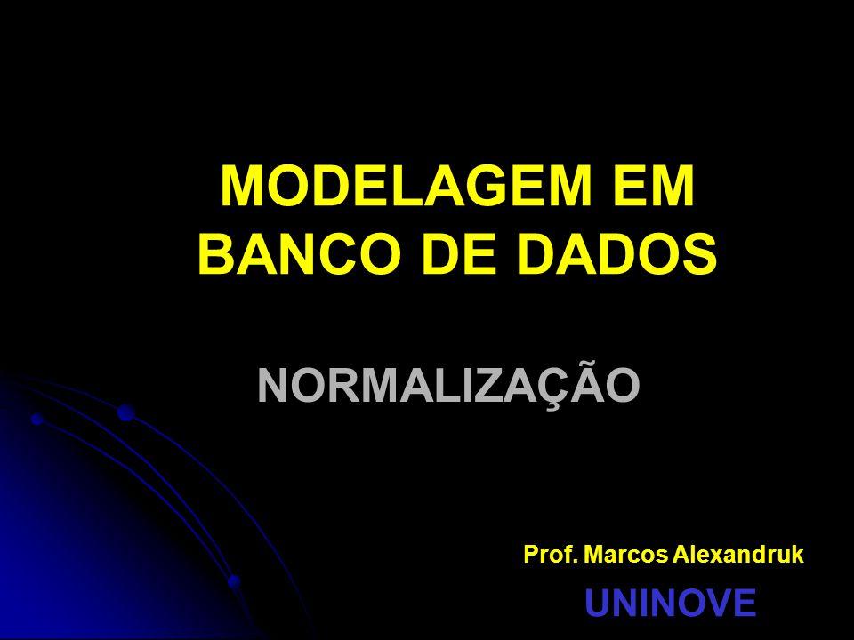 MODELAGEM EM BANCO DE DADOS NORMALIZAÇÃO Prof. Marcos Alexandruk UNINOVE