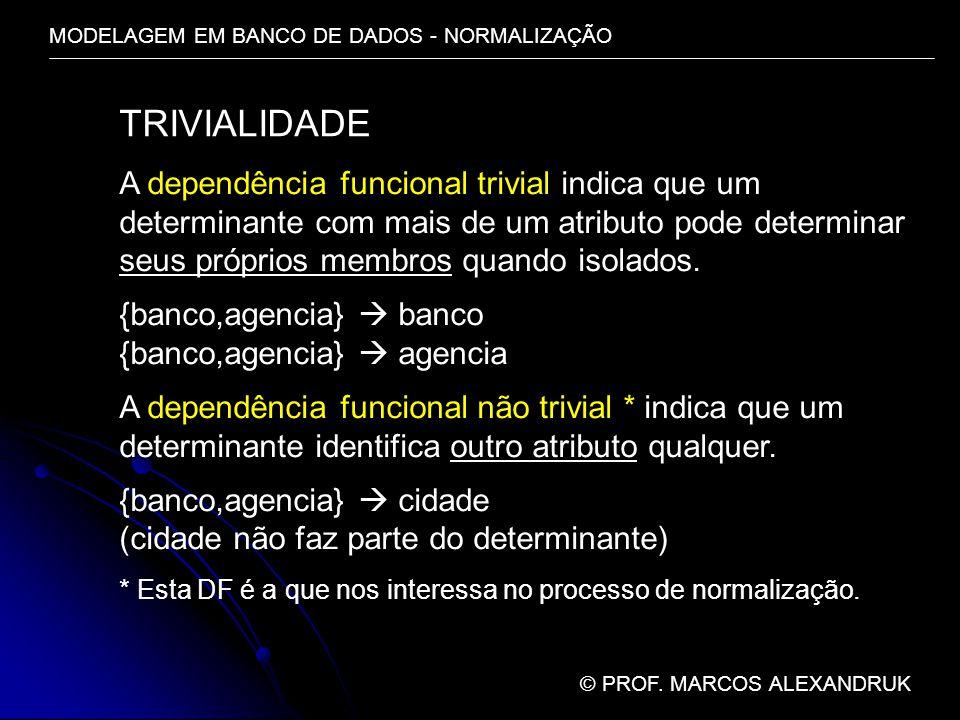 MODELAGEM EM BANCO DE DADOS - NORMALIZAÇÃO © PROF. MARCOS ALEXANDRUK TRIVIALIDADE A dependência funcional trivial indica que um determinante com mais