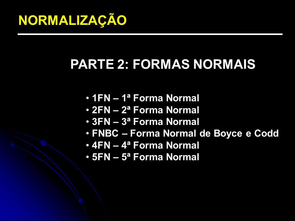 NORMALIZAÇÃO PARTE 2: FORMAS NORMAIS 1FN – 1ª Forma Normal 2FN – 2ª Forma Normal 3FN – 3ª Forma Normal FNBC – Forma Normal de Boyce e Codd 4FN – 4ª Fo