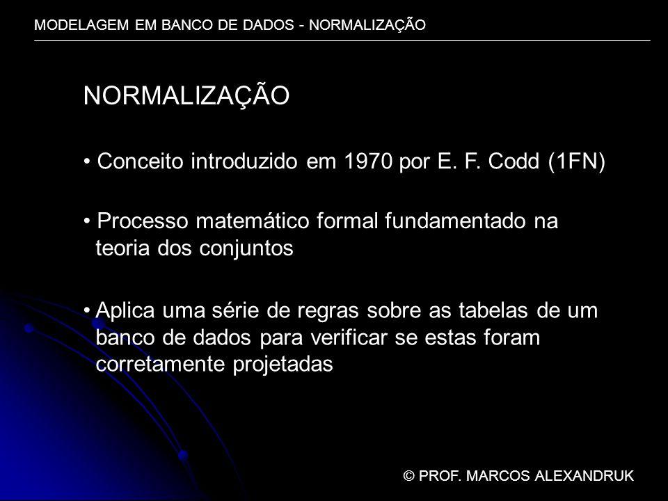 MODELAGEM EM BANCO DE DADOS - NORMALIZAÇÃO © PROF. MARCOS ALEXANDRUK NORMALIZAÇÃO Conceito introduzido em 1970 por E. F. Codd (1FN) Processo matemátic