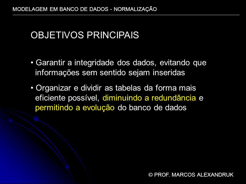 MODELAGEM EM BANCO DE DADOS - NORMALIZAÇÃO © PROF. MARCOS ALEXANDRUK OBJETIVOS PRINCIPAIS Garantir a integridade dos dados, evitando que informações s