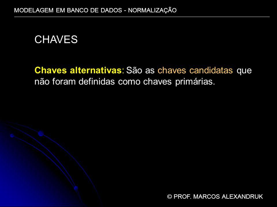 MODELAGEM EM BANCO DE DADOS - NORMALIZAÇÃO © PROF. MARCOS ALEXANDRUK CHAVES Chaves alternativas: São as chaves candidatas que não foram definidas como